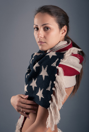 Young woman portrait with american flag scarf