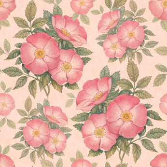 Watercolor dogrose illustration. Seamless pattern