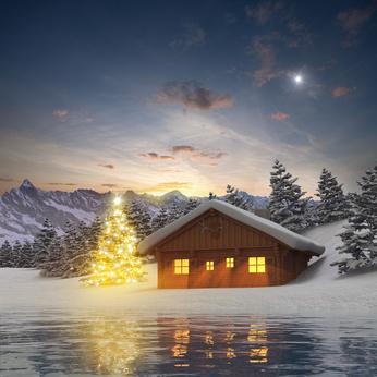 Beleuchteter Weihnachtsbaum und Alm Hütte